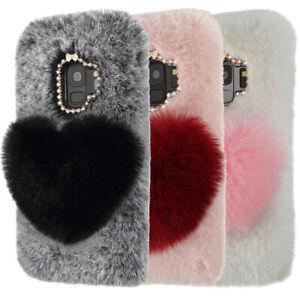 Bling-Diamond-Fluffy-Plush-Case-Skin-Fuzzy-Phone-Cover-For-Samsung-S10-S9-S8-S7