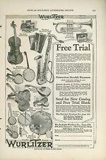 1921 Wurlitzer Musical Instruments Ad Coronet Saxophone Banjo Drum Guitar Violin