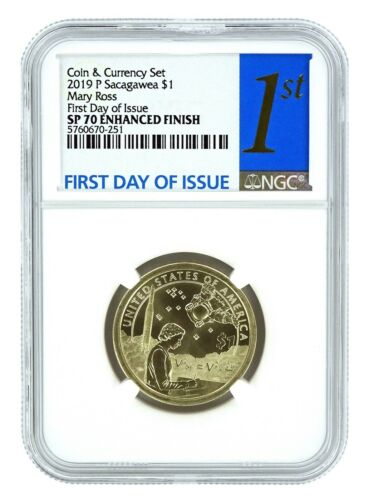 2019 P Sacagawea Coin And Currency Set Dollar NGC SP70 First Day Issue