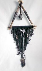 Boho Wall Hanging Dream Catcher Black Bohemian Triangle Nature Art Original