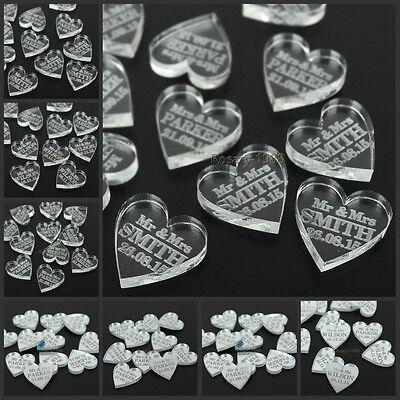 Personalized Love Heart Wedding Table Centerpieces Mr & Mrs Surname Decor Favors