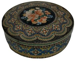 "Vintage Tin Container Made In Holland Floral Design Embossed 8"" Round Mosaic"