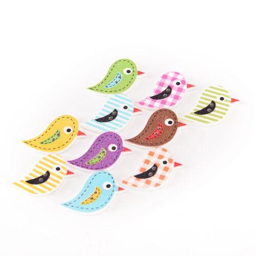 10 pcs wood sewing button scrapbooking bird shape at random 2 holes 24mmx15mmNI