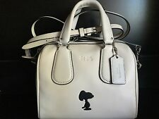 NWT COACH X Peanuts snoopy Mini Surrey LEATHER Satchel bag handbag chalk/white