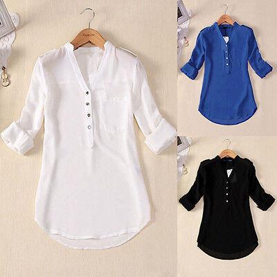 Women's Loose Long Sleeve Chiffon Casual Blouse Shirt Tops Fashion Blouse