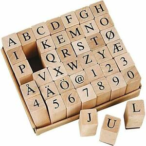 Mini Wooden Rubber Stamp Alphabet Letters Numbers A Z 42