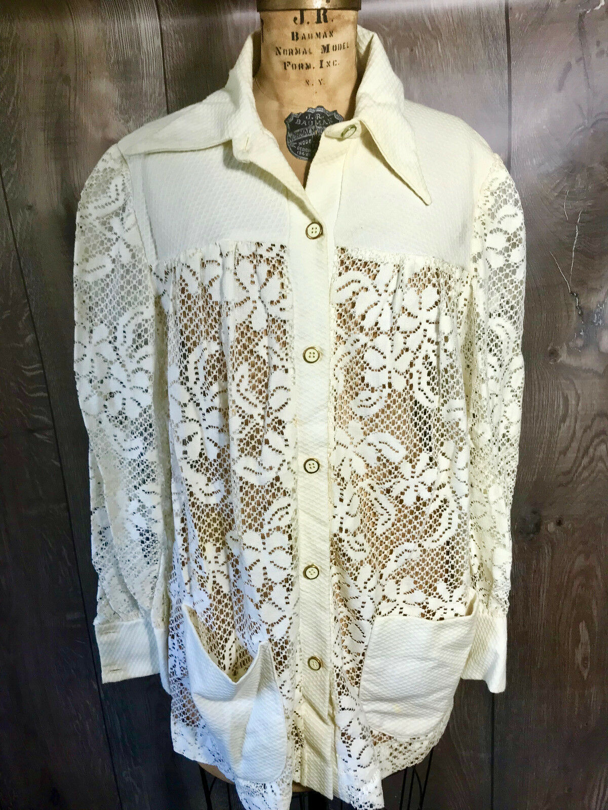 Vintage 1970's Lace Woman's Swimwear Cover Shirt … - image 2