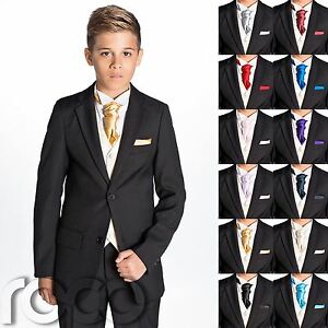 Image Is Loading Boys Black Suit Cravat Amp Pocket Square