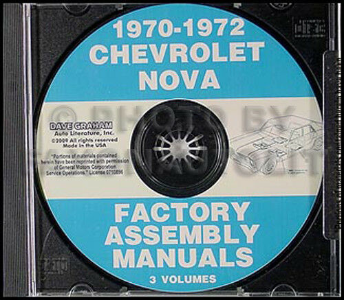 1970-1971-1972 Chevy Nova and SS Assembly Manual on CD Chevrolet Factory