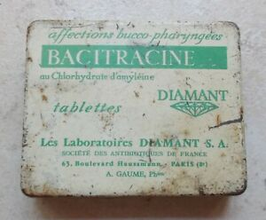 Vintage-french-cough-Bacitracine-Diamant-advertising-tin-box-France-50s-antique