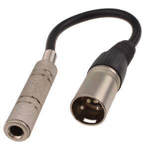 XLR-Male-Plug-to-6-35mm-Stereo-Socket-Female-Lead-0-2m
