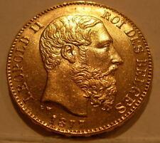 Belgium 1877 Gold 20 Francs Unc