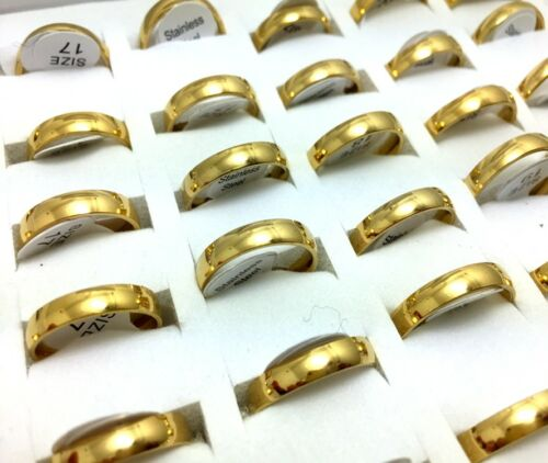 Wholesale 50PCS 4mm Gold  Stainless Steel Rings Band Ring jewelry mens women