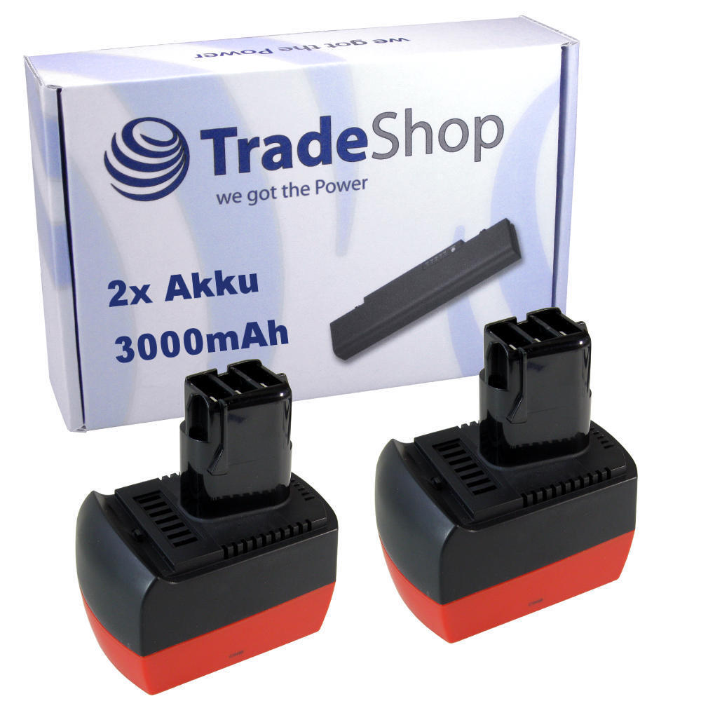 2x Akku 12V 3000mAh ersetzt Metabo 6.25486 6.25486.00 6.02151.50 6.02153.51