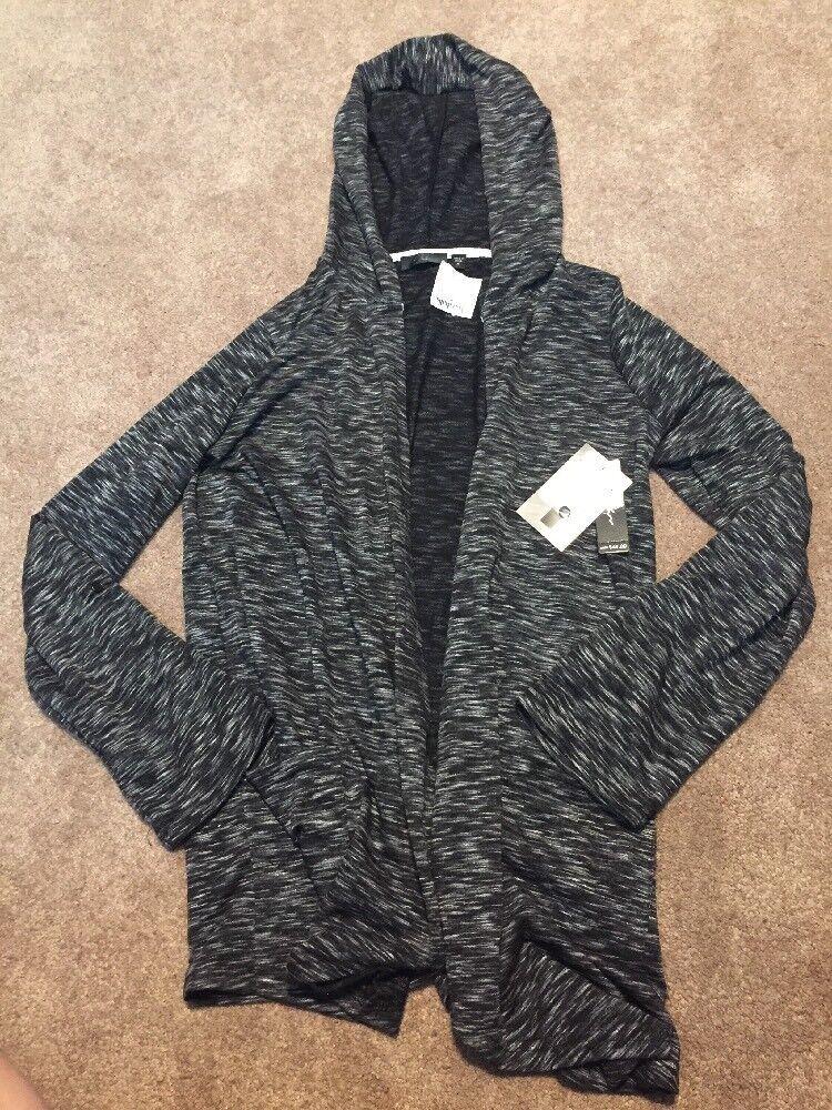 NWT Womens Lyn Athletic Black Marl Open Cardigan Jacket Hood Pockets M