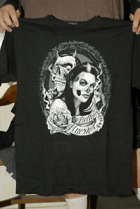 CITY LOCS BRAND T SHIRT NEW NO TAGS DAY OF THE DEAD ART DEVIL GOTH GOTHIC MED