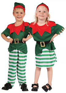 Santa`s Little Helper Kids Bambino Elfo Costume Natale Babbo Natale