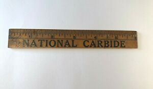 Vintage-Wooden-6-Inch-Advertising-Ruler-National-Carbide-The-Red-Drum