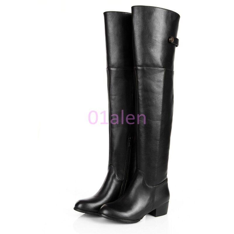 Donna Low Block Heel Over Knee Riding Leather Winter avvio scarpe Plus Dimensione 30-45