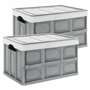 2er Set Aufbewahrungsboxen mit Deckel Kunststoff Faltboxen Stapelboxen Kisten