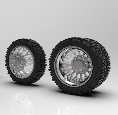 1 64 Evo 26 Inch Dually Truck Wheel And Bogger Tire Setup 3d Printed Ebay