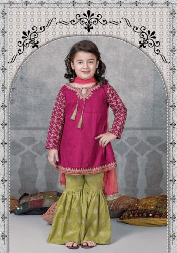 Pakistani Kids heavy embroidered lawn dress summer collection
