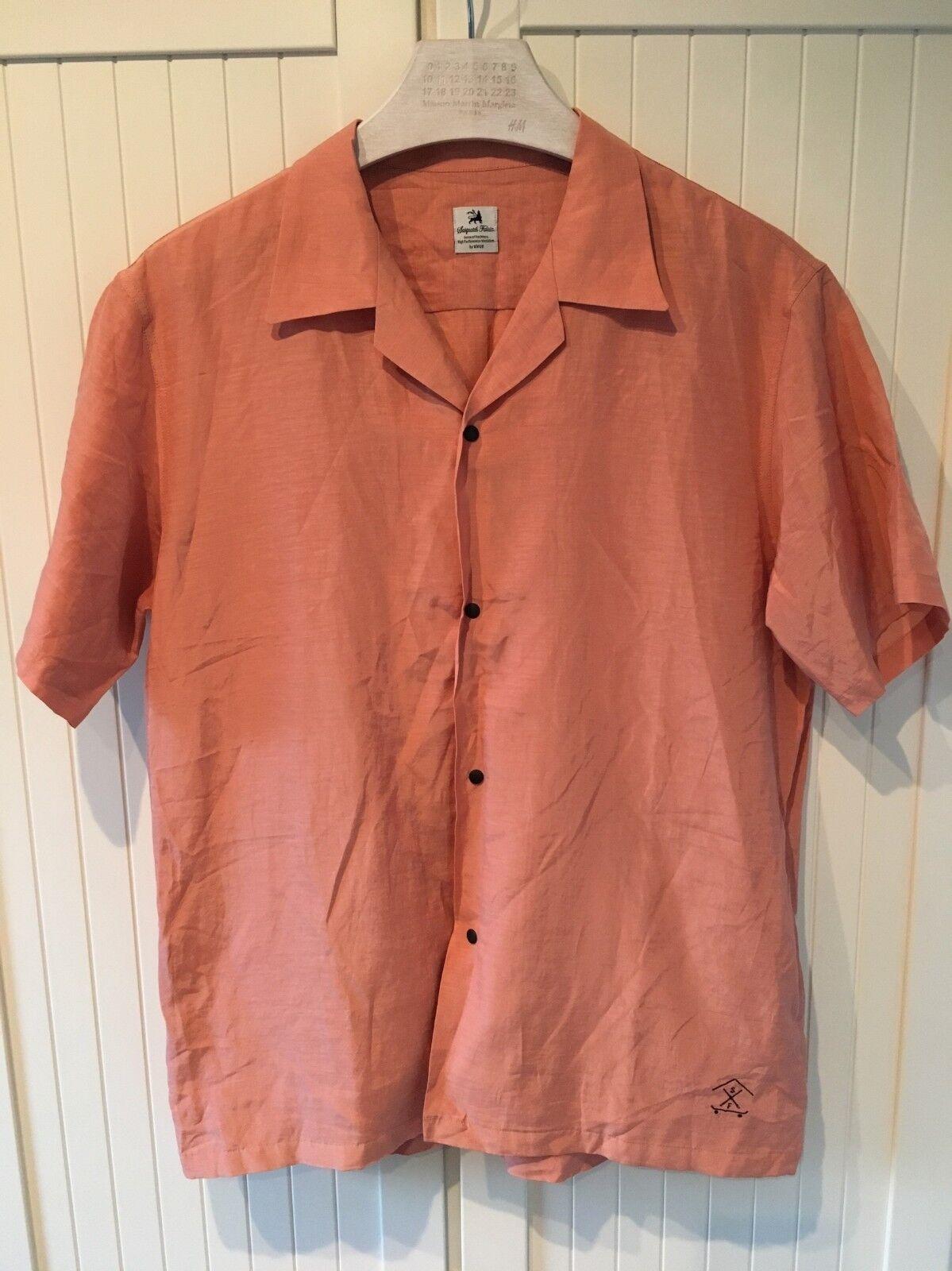 Sasquatchfabrix Men's Camp-collar Voile Shirt in Salmon Hue, XL