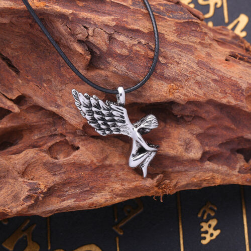 Fashion Men/'s Stainless SteelSilver Angel Pendant Necklace Chain Leather Jewelry