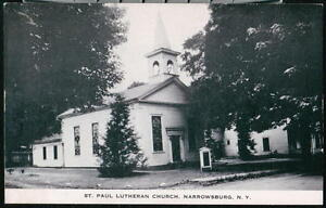 NARROWSBURG-NY-St-Paul-Lutheran-Church-Vintage-B-amp-W-Postcard-Old-Town-View-PC