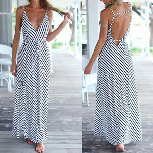 Summer-Sexy-Women-Boho-Maxi-Evening-Party-Beach-striped-Chiffon-Long-Dress-NEW