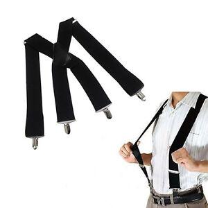 Black-Suspenders-Adult-Teens-Elastic-Belt-4-Clip-Braces-Pop-Clothing-Fittings