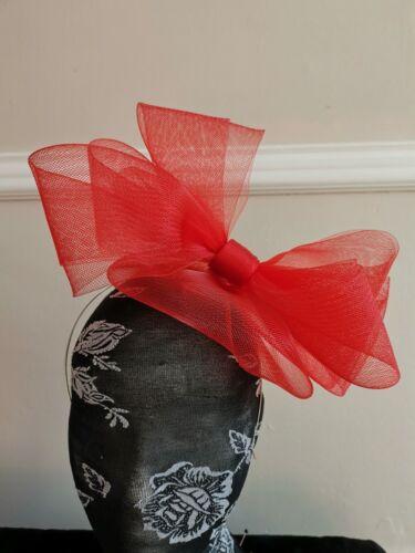 red fascinator millinery burlesque headband wedding hat hair piece race ascot