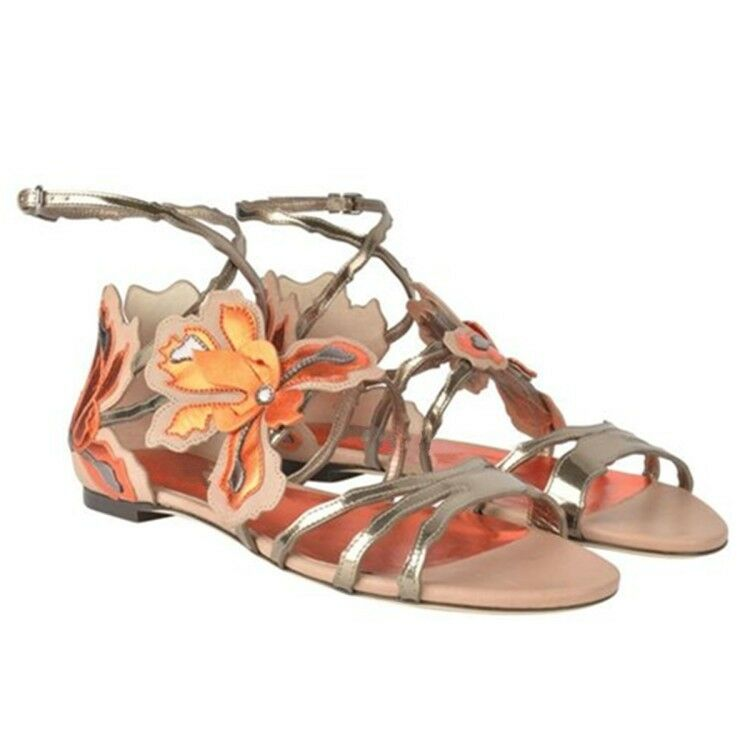 Women's Fashion European Flats Sandals Roma Peep Toe Ankle Strappy Summer shoes