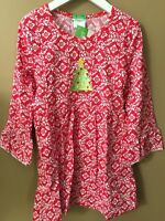 Girls Boutique 5 6 Christmas Tree Appliqué Print Dress Red Floral Knit