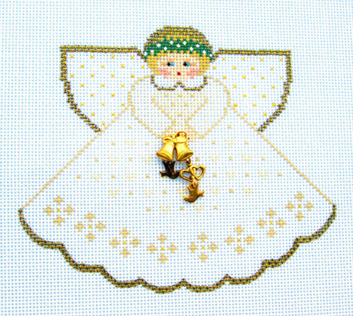 Wedding Angel with Charms handpainted Needlepoint Canvas Ornament Painted Pony