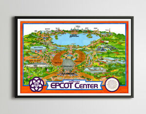 """Vintage EPCOT CENTER Inaugural Year Park Map Poster! (up to 24"""" x 36"""") - 1982"""