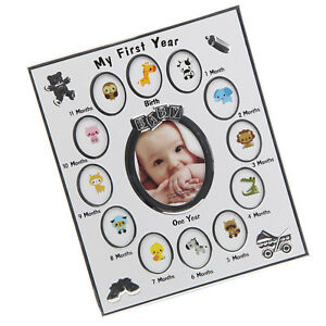 FIRST YEAR BABY PHOTO FRAME SILVER PLATED 12 MONTHS CHRISTENING GIFT NEWBORN NEW