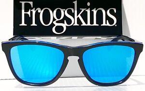 4f98f9e7e3 Image is loading NEW-Oakley-Frogskins-Black-Blue-Eclipse-Sapphire-Blue-