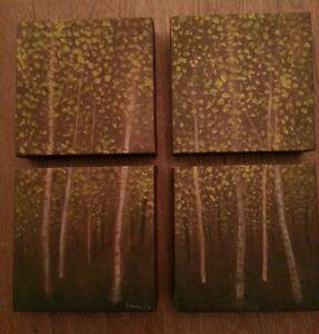 039Birch Wood039 A 4 piece study Oil painting on  canvas each piece 15cm x 15cm - Bangor, United Kingdom - 039Birch Wood039 A 4 piece study Oil painting on  canvas each piece 15cm x 15cm - Bangor, United Kingdom