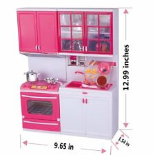 Pink Mini Toy Kitchen Playset with lights and sounds, Perfect for Use with Dolls