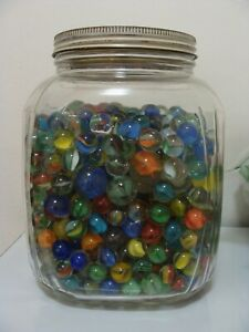 100-Random-Vintage-Classic-Cats-Eye-Marbles-Multicolor-Red-Blue-Yellow-Green