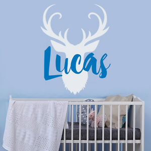 Image is loading Rustic-Name-Wall-Decal-Deer-Antler-Vinyl-Nursery- & Rustic Name Wall Decal Deer Antler Vinyl Nursery Decor Custom Boys ...