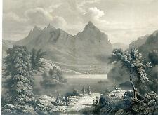 Alter Druck Stich Stahlstich Lac de Lowerz l´ile de Schwanau Insel Lowerzsee