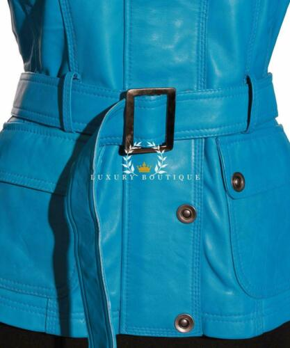 Jacket Style Sky Natasha Waxed Leather Real Blue Ladies Vintage Safari Lambskin gvIxISfqw