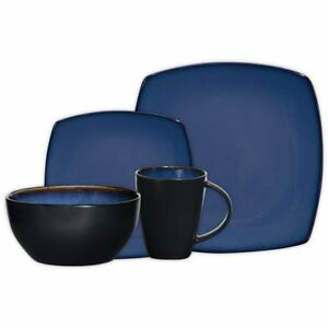 Image Is Loading Square Dinnerware Set 16 Piece Dinner Plates Bowls
