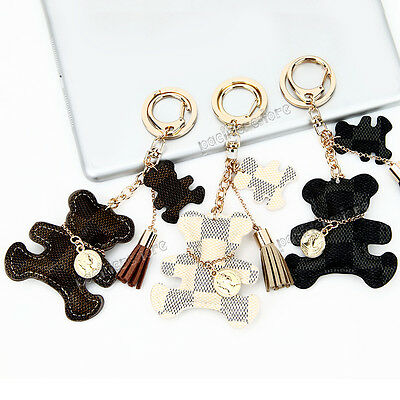 Cute Bear Charm Pendant Leather Purse Handbag Phone Key Chain Ring Keyring Gift