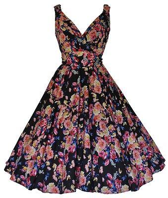 BLACK FLOWER GARDEN 50'S VINTAGE STYLE PARTY JIVE SWING TEA DRESS NEW 10 - 28