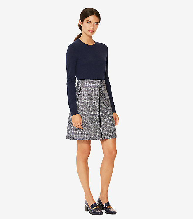 NWT Tory Burch Chaumont Skirt Navy Gemini Size 14  250