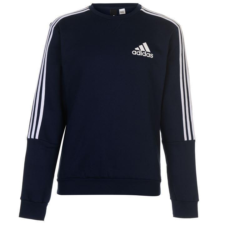 ✅ ADIDAS 3 Stripes Herren Sweatshirt Gr. S-3XL Pullover Fleece Rundhals Blau