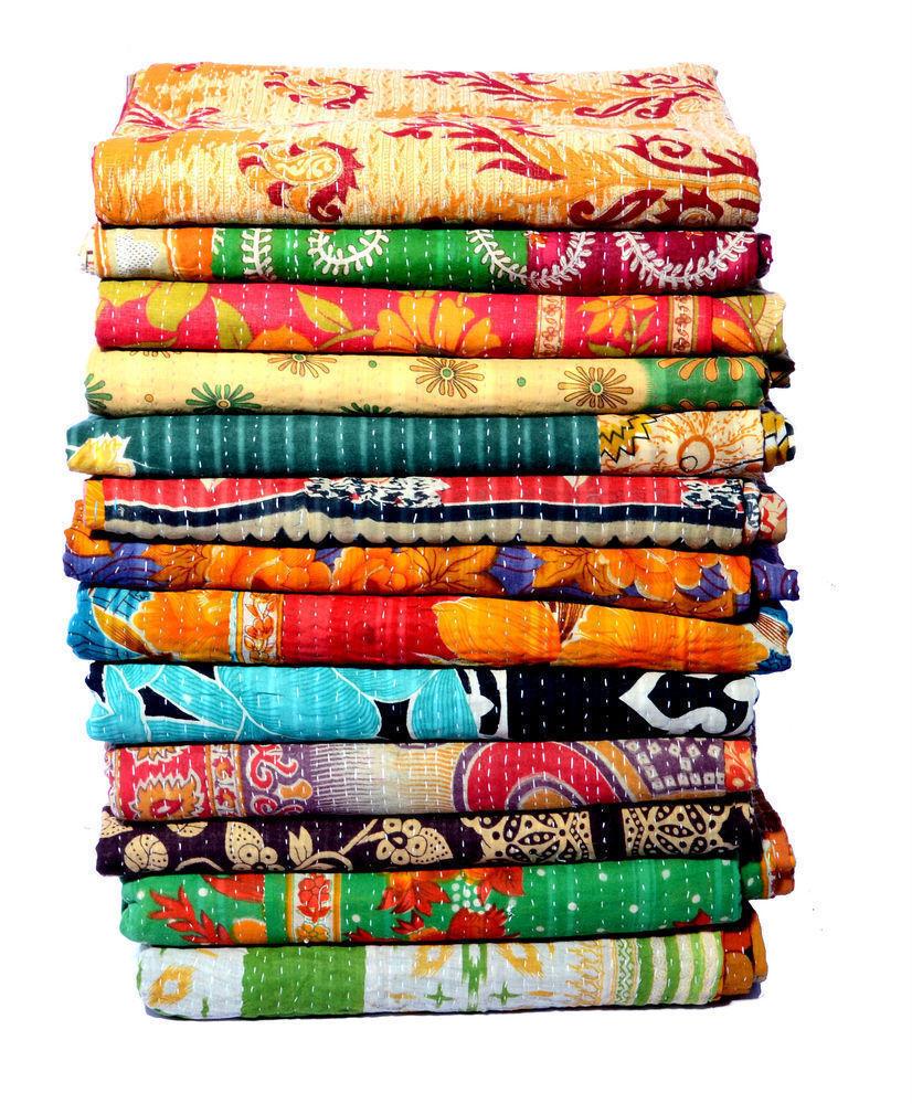 5 PCS Lot Kantha Quilt Cotton Blanket Vintage Handmade Boho Bedspreads Bedding